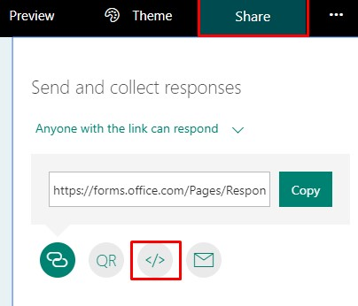 MS Forms embed code